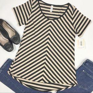 Lularoe Classic Tee Black & Tan Stripes